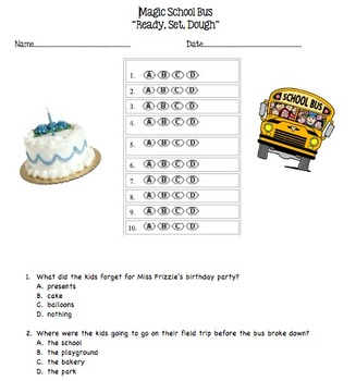 Magic School Bus Ready Set Dough Multiple Choice Questions
