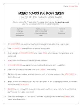 Magic School Bus Rides Again Invasive Species Worksheets By