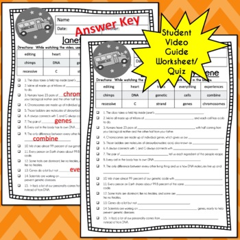Magic School Bus Rides Again JANETS MYSTERY GENE Video Guide, Worksheets, Lesson