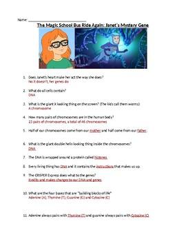 Magic School Bus Rides Again: Janet's Mystery Gene Worksheet & Answer Key