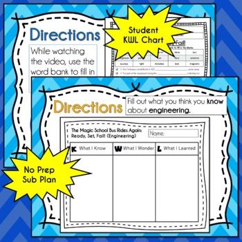 Magic School Bus Rides Again READY, SET, FAIL Video Guide Worksheets ENGINEERING