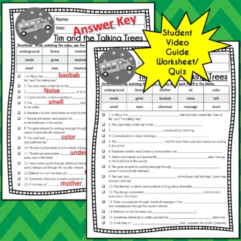 Magic School Bus Rides Again TIM AND THE TALKING TREES Video Guide, Worksheets