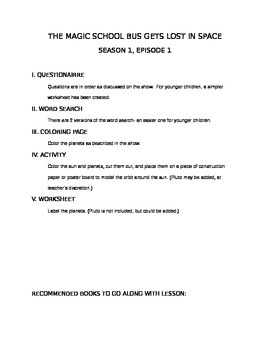 Magic School Bus S1E1 Lesson Plan