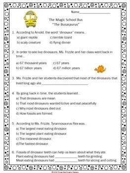 "Dinosaurs Magic School Bus ""The Busasaurus"" Video Response Form"
