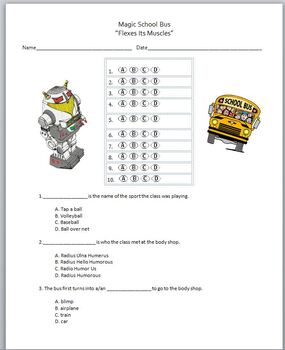 "Magic School Bus Video Multiple Choice Quiz - ""Flexes Its Muscles"""