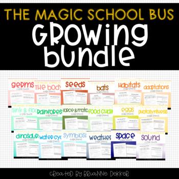 Magic School Bus Video Worksheets - GROWING BUNDLE