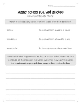 Magic School Bus: Wet All Over - Water Cycle Worksheets by Brianne ...