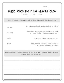 Magic School Bus in the Haunted House - Sound Worksheets