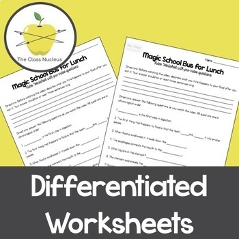 Magic School Bus for Lunch Differentiated Video Worksheets + Bonus ...