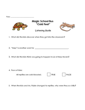 Magic School Bus listening guide - Cold Feet (reptiles. cold-blooded animals)
