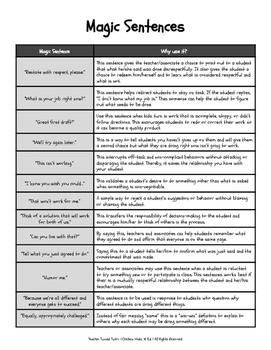Magic Sentences | Handout Guide