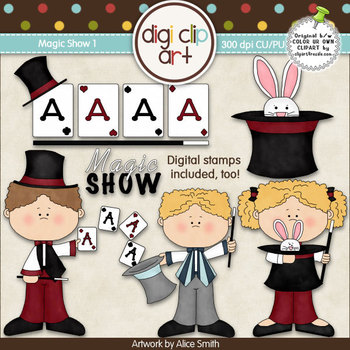 Magic Show 1-  Digi Clip Art/Digital Stamps - CU Clip Art