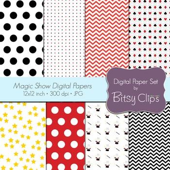 Magic Show Digital Paper Set Commercial Use Clip Art Magician Scrapbook Papers