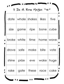 "Magic (Silent) ""e"" game"