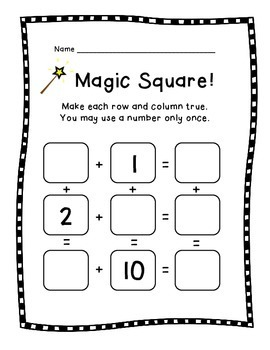Magic Square!  Fun Puzzles for Math Facts and Reasoning