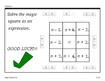Algebra Math Game - (Magic Square)