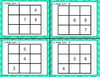 Magic Square Addition Task Cards