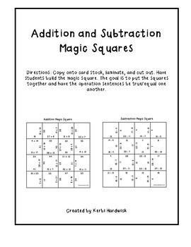 Magic Square Puzzle BUNDLE: Addition AND Subtraction