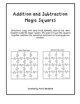 Magic Square Puzzle - Addition and Subtraction