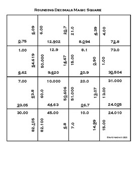 Magic Square Puzzle BUNDLE: Rounding Whole Numbers AND Decimals