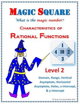 Magic Square - Characteristics of Rational Functions (Level 2)