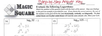 Magic Square - Evaluating Logarithmic Functions (Advanced Version)