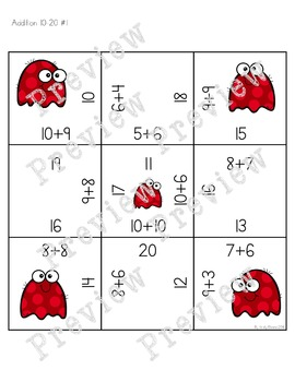 Magic Square Number Puzzles - Addition & Subtraction 10-20