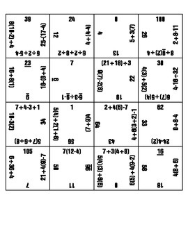 Magic Square-Order of Operations 4X4