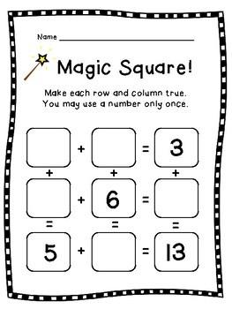 Magic Square Puzzle Bundle: Addition & Subtraction Math Facts: K, 1st, 2nd, 3rd