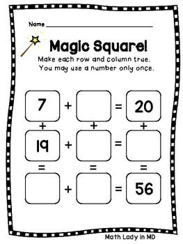 Magic Square Puzzles: 2 Digit Numbers - 16 Puzzles!