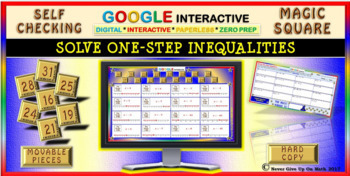 Magic Square: Solve 1-Step Inequalities (Google Interactive & Hard Copy)
