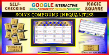 Magic Square: Solve Compound Inequalities (Google Interactive & Hard Copy)