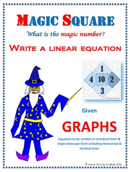 Magic Square - Writing Linear Equations from Graphs (Slope