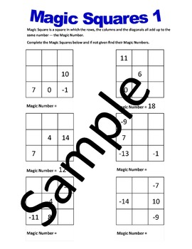 Magic Squares 2 – Worksheets