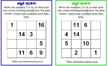 Magic Squares - Class set