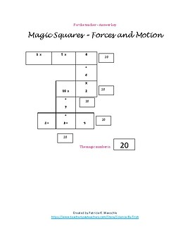 Magic Squares  - Forces and Motion
