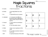 Magic Squares Fractions-Fraction Vocabulary