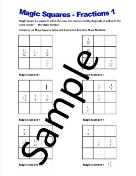 magic squares fractions  worksheets by math world  tpt magic squares fractions  worksheets