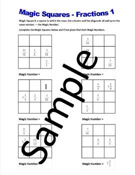 Magic Squares Fractions – Worksheets