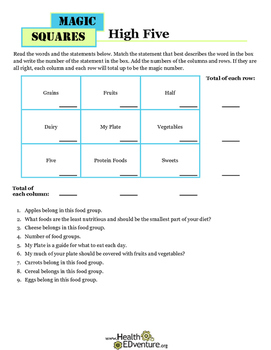 Magic Math Squares: MyPlate Food Groups