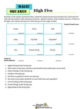Magic Math Squares: MyPlate Food Groups