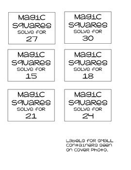 Magic Squares Logical & Critical Thinking Work Stations