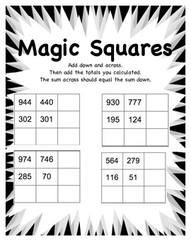 magic squares math worksheet by miss van boom  teachers pay teachers