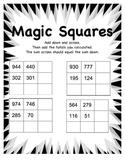 Magic Squares Math Worksheet