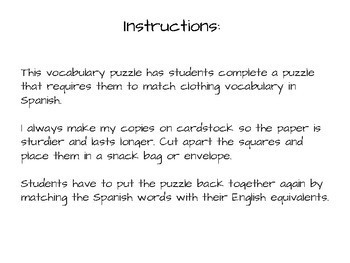 Vocabulary Puzzle - Spanish - La ropa - Clothing