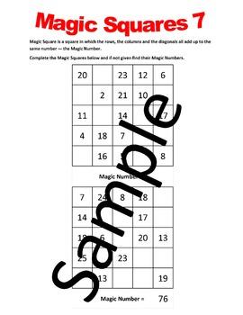 Magic Squares 1 – Worksheets
