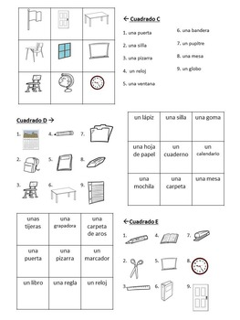 Magic Squares:Spanish Classroom Objects