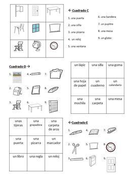 Magic Squares:Spanish Classroom Objects