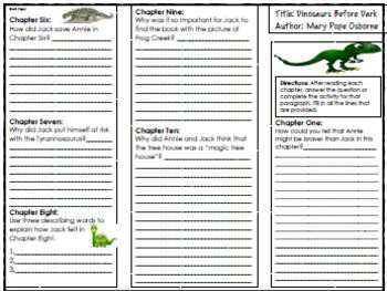 Magic Tree House #1 Dinosaurs Before Dark Novel Study, Project Menu