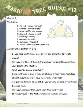 Magic Tree House #12 Polar Bears Past Bedtime ELA Novel Reading Study Guide